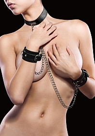 Leather Collar and Handcuffs - Black
