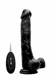 """Vibrating Realistic Cock - 10"""" - With Scrotum - Black"""