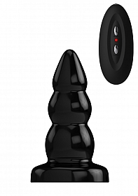 Buttplug - Rubber Vibrating - 5 Inch - Model 6 - Black