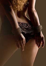 Leather Hand Cuffs - Brown