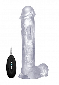 Vibrating Realistic Cock - 11 Inch - With Scrotum - Transparent