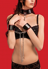 Reversible Collar and Wrist Cuffs - Red