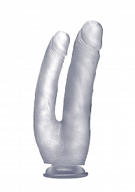Realistic Double Cock - 10 Inch - Translucent