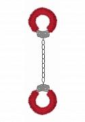 Beginner's Furry Legcuffs  - Red