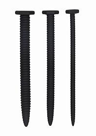 Silicone Screw Plug Set - Urethral Sounding - Black