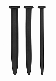 Silicone Rugged Nail Plug Set - Urethral Sounding - Black